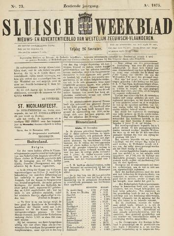 Sluisch Weekblad. Nieuws- en advertentieblad voor Westelijk Zeeuwsch-Vlaanderen 1875-11-26