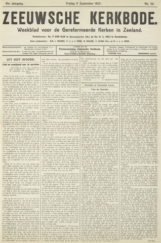 Zeeuwsche kerkbode, weekblad gewijd aan de belangen der gereformeerde kerken/ Zeeuwsch kerkblad 1927-09-09