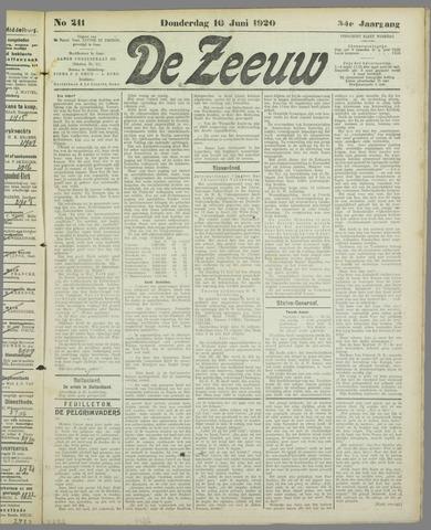 De Zeeuw. Christelijk-historisch nieuwsblad voor Zeeland 1920-06-10