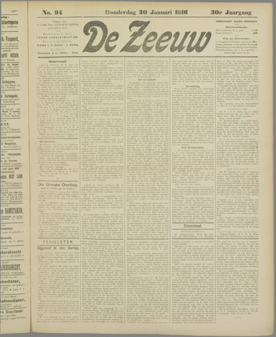 De Zeeuw. Christelijk-historisch nieuwsblad voor Zeeland 1916-01-20