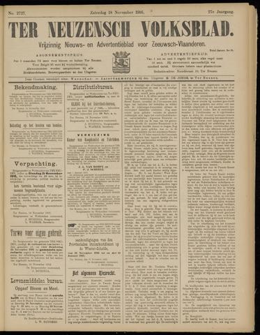 Ter Neuzensch Volksblad. Vrijzinnig nieuws- en advertentieblad voor Zeeuwsch- Vlaanderen / Zeeuwsch Nieuwsblad. Nieuws- en advertentieblad voor Zeeland 1916-11-18