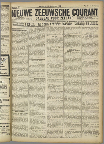 Nieuwe Zeeuwsche Courant 1922-09-13