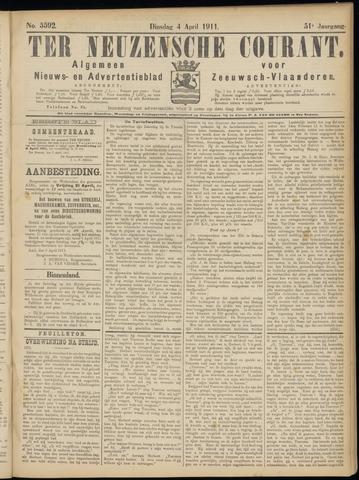 Ter Neuzensche Courant. Algemeen Nieuws- en Advertentieblad voor Zeeuwsch-Vlaanderen / Neuzensche Courant ... (idem) / (Algemeen) nieuws en advertentieblad voor Zeeuwsch-Vlaanderen 1911-04-04