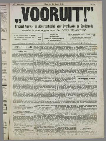"""""""Vooruit!""""Officieel Nieuws- en Advertentieblad voor Overflakkee en Goedereede 1917-06-30"""