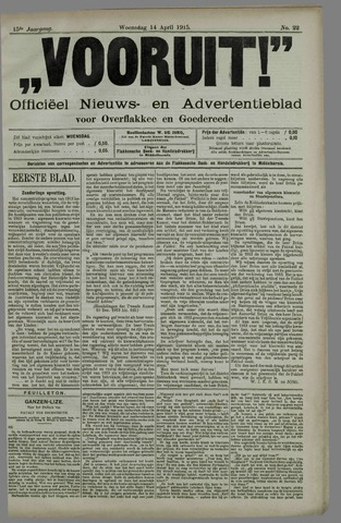 """""""Vooruit!""""Officieel Nieuws- en Advertentieblad voor Overflakkee en Goedereede 1915-04-14"""