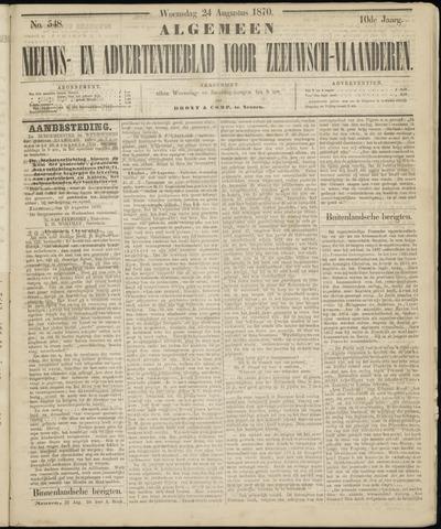 Ter Neuzensche Courant. Algemeen Nieuws- en Advertentieblad voor Zeeuwsch-Vlaanderen / Neuzensche Courant ... (idem) / (Algemeen) nieuws en advertentieblad voor Zeeuwsch-Vlaanderen 1870-08-24