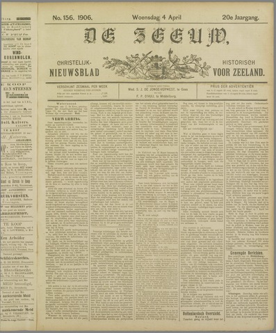 De Zeeuw. Christelijk-historisch nieuwsblad voor Zeeland 1906-04-04