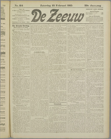 De Zeeuw. Christelijk-historisch nieuwsblad voor Zeeland 1915-02-13