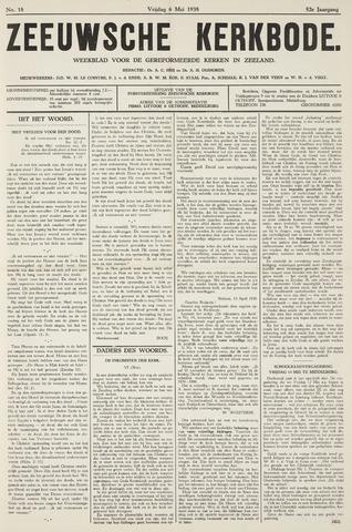 Zeeuwsche kerkbode, weekblad gewijd aan de belangen der gereformeerde kerken/ Zeeuwsch kerkblad 1938-05-06