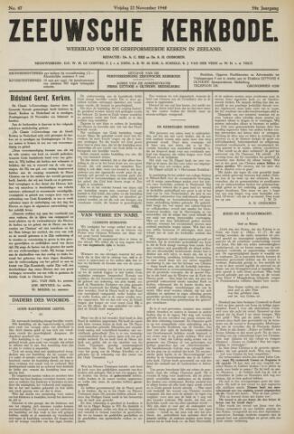 Zeeuwsche kerkbode, weekblad gewijd aan de belangen der gereformeerde kerken/ Zeeuwsch kerkblad 1940-11-22