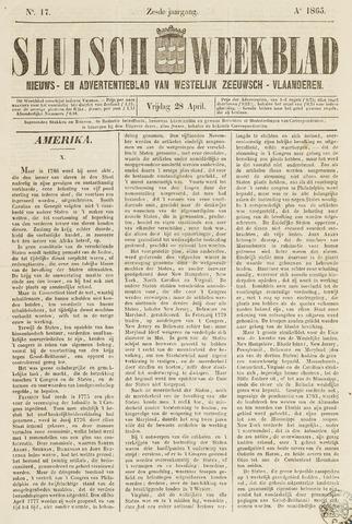 Sluisch Weekblad. Nieuws- en advertentieblad voor Westelijk Zeeuwsch-Vlaanderen 1865-04-28