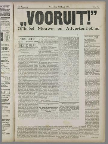 """""""Vooruit!""""Officieel Nieuws- en Advertentieblad voor Overflakkee en Goedereede 1905-03-22"""