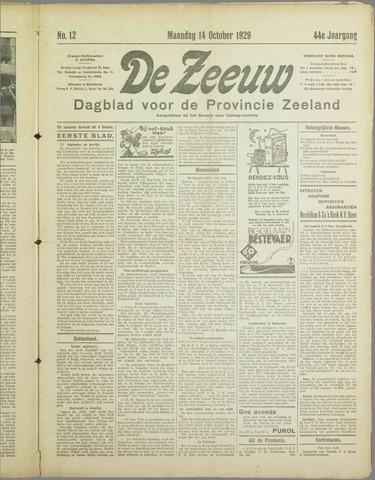 De Zeeuw. Christelijk-historisch nieuwsblad voor Zeeland 1929-10-14
