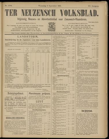 Ter Neuzensch Volksblad. Vrijzinnig nieuws- en advertentieblad voor Zeeuwsch- Vlaanderen / Zeeuwsch Nieuwsblad. Nieuws- en advertentieblad voor Zeeland 1916-09-06