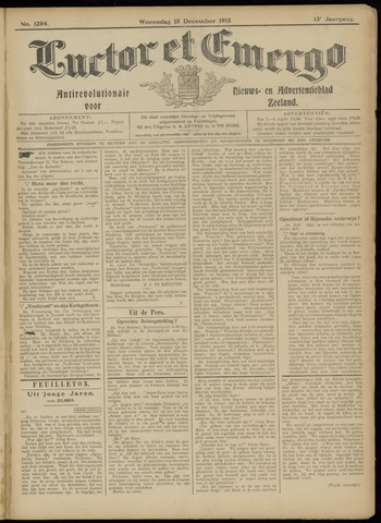 Luctor et Emergo. Antirevolutionair nieuws- en advertentieblad voor Zeeland / Zeeuwsch-Vlaanderen. Orgaan ter verspreiding van de christelijke beginselen in Zeeuwsch-Vlaanderen 1915-12-15