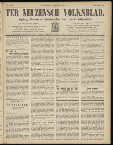 Ter Neuzensch Volksblad. Vrijzinnig nieuws- en advertentieblad voor Zeeuwsch- Vlaanderen / Zeeuwsch Nieuwsblad. Nieuws- en advertentieblad voor Zeeland 1913-09-17