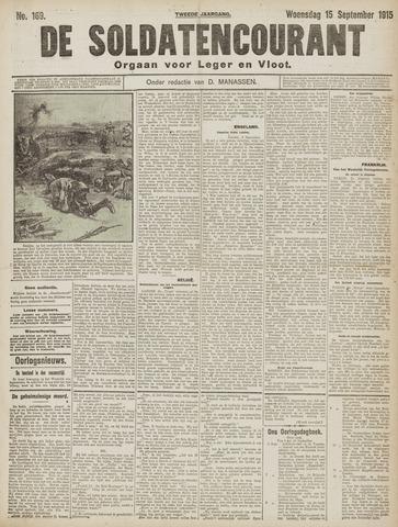 De Soldatencourant. Orgaan voor Leger en Vloot 1915-09-15