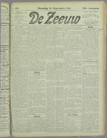 De Zeeuw. Christelijk-historisch nieuwsblad voor Zeeland 1921-09-12