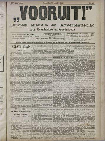 """""""Vooruit!""""Officieel Nieuws- en Advertentieblad voor Overflakkee en Goedereede 1916-06-21"""