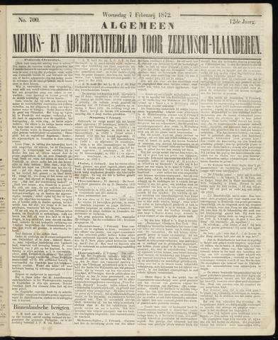 Ter Neuzensche Courant. Algemeen Nieuws- en Advertentieblad voor Zeeuwsch-Vlaanderen / Neuzensche Courant ... (idem) / (Algemeen) nieuws en advertentieblad voor Zeeuwsch-Vlaanderen 1872-02-07