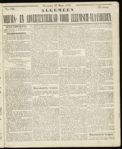 Ter Neuzensche Courant. Algemeen Nieuws- en Advertentieblad voor Zeeuwsch-Vlaanderen / Neuzensche Courant ... (idem) / (Algemeen) nieuws en advertentieblad voor Zeeuwsch-Vlaanderen 1872-03-27
