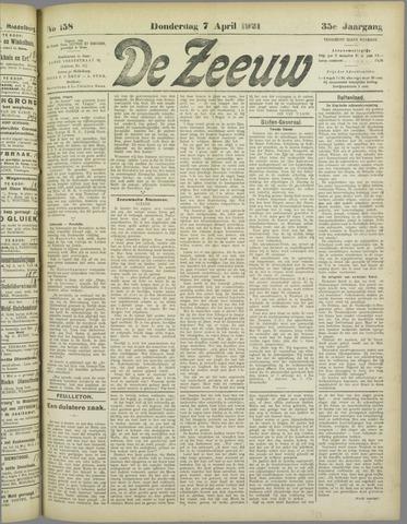 De Zeeuw. Christelijk-historisch nieuwsblad voor Zeeland 1921-04-07