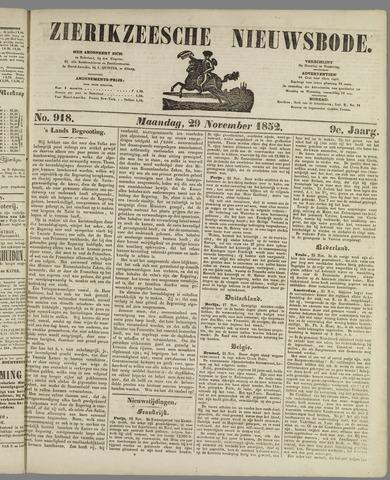 Zierikzeesche Nieuwsbode 1852-11-29