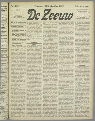 De Zeeuw. Christelijk-historisch nieuwsblad voor Zeeland 1920-09-13