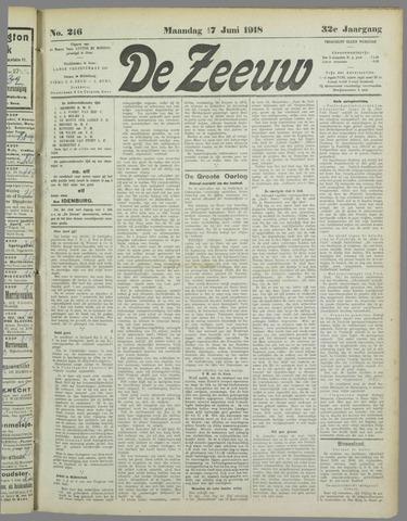 De Zeeuw. Christelijk-historisch nieuwsblad voor Zeeland 1918-06-17