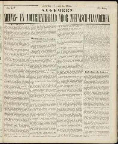 Ter Neuzensche Courant. Algemeen Nieuws- en Advertentieblad voor Zeeuwsch-Vlaanderen / Neuzensche Courant ... (idem) / (Algemeen) nieuws en advertentieblad voor Zeeuwsch-Vlaanderen 1872-08-17