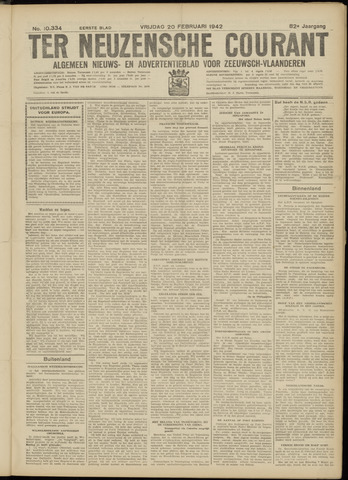 Ter Neuzensche Courant. Algemeen Nieuws- en Advertentieblad voor Zeeuwsch-Vlaanderen / Neuzensche Courant ... (idem) / (Algemeen) nieuws en advertentieblad voor Zeeuwsch-Vlaanderen 1942-02-20