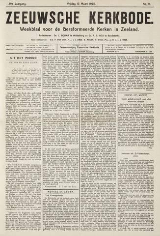Zeeuwsche kerkbode, weekblad gewijd aan de belangen der gereformeerde kerken/ Zeeuwsch kerkblad 1925-03-13