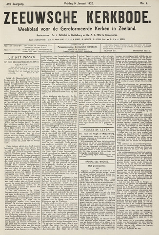 Zeeuwsche kerkbode, weekblad gewijd aan de belangen der gereformeerde kerken/ Zeeuwsch kerkblad 1925-01-09