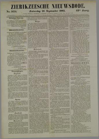 Zierikzeesche Nieuwsbode 1885-09-26