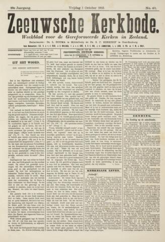 Zeeuwsche kerkbode, weekblad gewijd aan de belangen der gereformeerde kerken/ Zeeuwsch kerkblad 1915-10-01