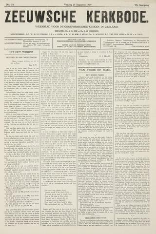 Zeeuwsche kerkbode, weekblad gewijd aan de belangen der gereformeerde kerken/ Zeeuwsch kerkblad 1939-08-25