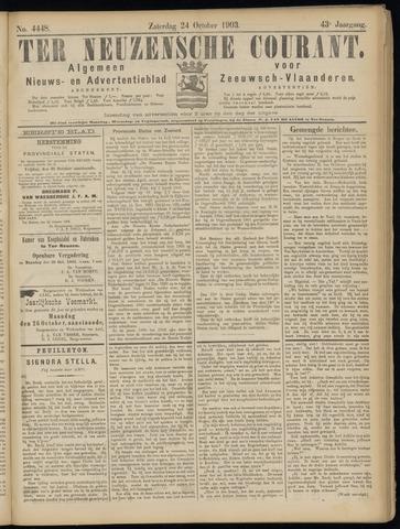 Ter Neuzensche Courant. Algemeen Nieuws- en Advertentieblad voor Zeeuwsch-Vlaanderen / Neuzensche Courant ... (idem) / (Algemeen) nieuws en advertentieblad voor Zeeuwsch-Vlaanderen 1903-10-24