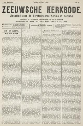 Zeeuwsche kerkbode, weekblad gewijd aan de belangen der gereformeerde kerken/ Zeeuwsch kerkblad 1926-04-30