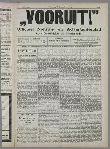 """""""Vooruit!""""Officieel Nieuws- en Advertentieblad voor Overflakkee en Goedereede 1910-12-07"""