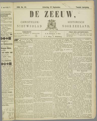 De Zeeuw. Christelijk-historisch nieuwsblad voor Zeeland 1888-09-22