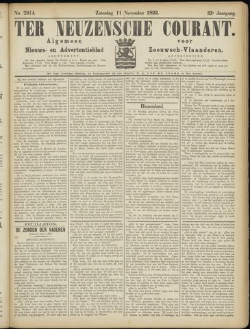 Ter Neuzensche Courant. Algemeen Nieuws- en Advertentieblad voor Zeeuwsch-Vlaanderen / Neuzensche Courant ... (idem) / (Algemeen) nieuws en advertentieblad voor Zeeuwsch-Vlaanderen 1893-11-11