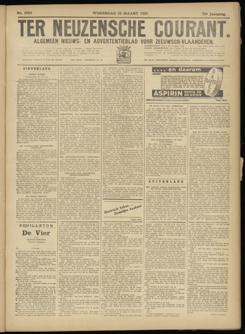 Ter Neuzensche Courant. Algemeen Nieuws- en Advertentieblad voor Zeeuwsch-Vlaanderen / Neuzensche Courant ... (idem) / (Algemeen) nieuws en advertentieblad voor Zeeuwsch-Vlaanderen 1933-03-22