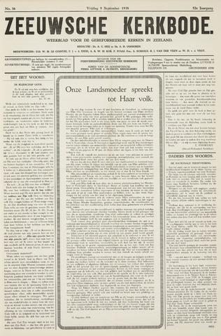 Zeeuwsche kerkbode, weekblad gewijd aan de belangen der gereformeerde kerken/ Zeeuwsch kerkblad 1938-09-09