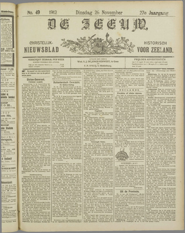 De Zeeuw. Christelijk-historisch nieuwsblad voor Zeeland 1912-11-26