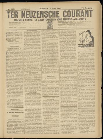 Ter Neuzensche Courant. Algemeen Nieuws- en Advertentieblad voor Zeeuwsch-Vlaanderen / Neuzensche Courant ... (idem) / (Algemeen) nieuws en advertentieblad voor Zeeuwsch-Vlaanderen 1935-04-03