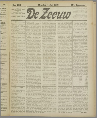De Zeeuw. Christelijk-historisch nieuwsblad voor Zeeland 1916-07-04