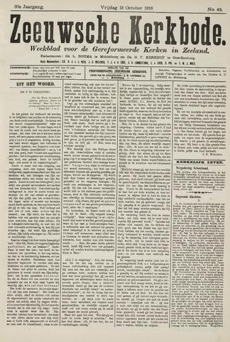 Zeeuwsche kerkbode, weekblad gewijd aan de belangen der gereformeerde kerken/ Zeeuwsch kerkblad 1916-10-13