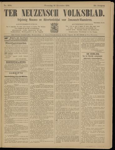 Ter Neuzensch Volksblad. Vrijzinnig nieuws- en advertentieblad voor Zeeuwsch- Vlaanderen / Zeeuwsch Nieuwsblad. Nieuws- en advertentieblad voor Zeeland 1914-12-23