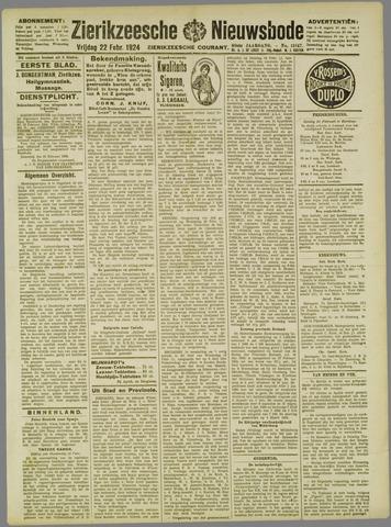Zierikzeesche Nieuwsbode 1924-02-22
