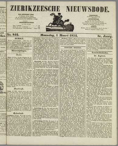 Zierikzeesche Nieuwsbode 1852-03-01